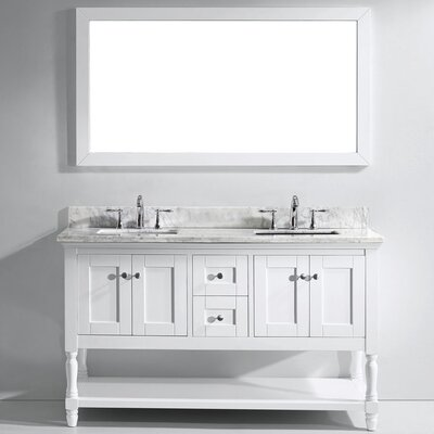 Julianna 60 Double Bathroom Vanity Set with Mirror Faucet Finish: Polished Chrome, Sink Shape: Square