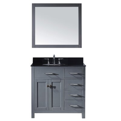 Caroline Parkway 36 Single Bathroom Vanity Set with Black Galaxy Granite Top and Mirror Base Finish: Espresso, Faucet Finish: Polished Chrome