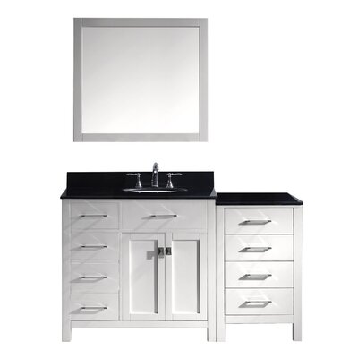 Caroline Parkway 57 Single Bathroom Vanity Set with Mirror Base Finish: White, Faucet Finish: Polished Chrome, Sink Shape: Round