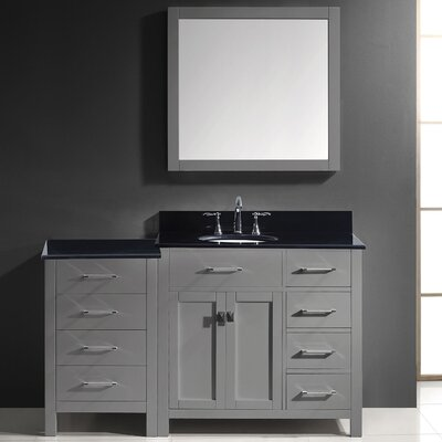 Caroline Parkway 57 Single Bathroom Vanity Set with Black Galaxy Granite Top and Mirror Base Finish: Gray, Faucet Finish: Polished Chrome, Sink Shape: Round
