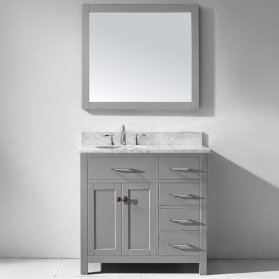 Caroline Parkway 36 Single Bathroom Vanity Set with Marble Top, Faucet and Mirror Faucet Finish: Polished Chrome, Sink Shape: Round