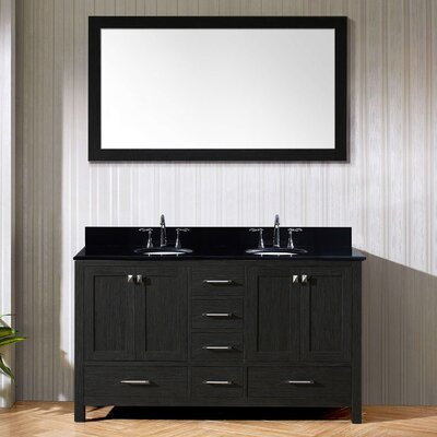 Caroline Premium 60 Double Bathroom Vanity Set with Mirror Sink Shape: Round