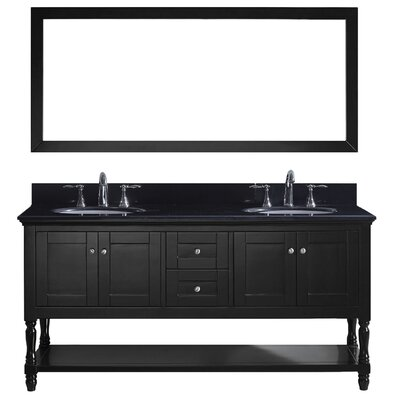 Julianna 72 Double Bathroom Vanity Set with Mirror Base Finish: Espresso, Faucet Finish: Polished Chrome, Sink Shape: Square