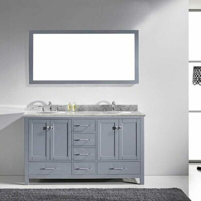 Caroline Avenue 60 Double Bathroom Vanity Set with Marble Top, Faucet and Mirror Faucet Finish: Polished Chrome, Sink Shape: Round