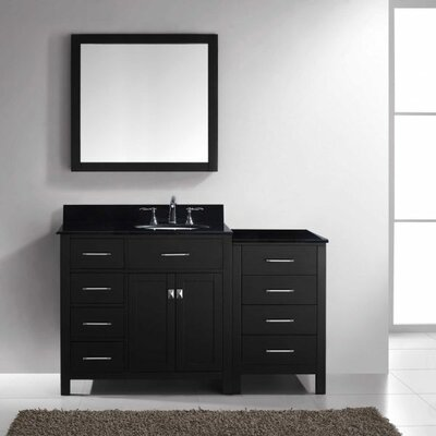 Caroline Parkway 57 Single Bathroom Vanity Set with Black Galaxy Granite Top and Mirror Base Finish: Espresso, Faucet Finish: Brushed Nickel, Sink Shape: Round