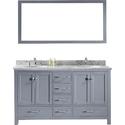 Caroline Avenue 60 Double Bathroom Vanity Set with Marble Top and Mirror Sink Shape: Round