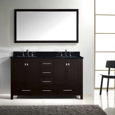 Caroline Avenue 60 Double Bathroom Vanity Set with Mirror Faucet Finish: Polished Chrome, Sink Shape: Square