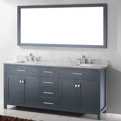 Caroline 72 Double Bathroom Vanity Set with Mirror Faucet Finish: Brushed Nickel, Sink Shape: Square