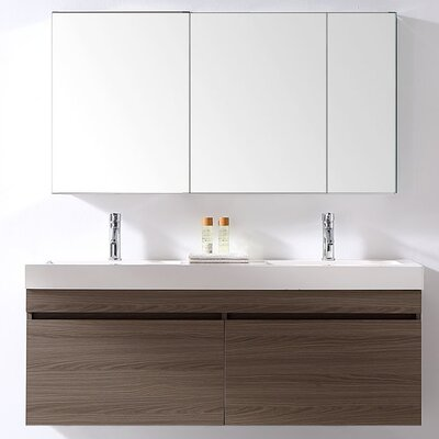 Zuri 55 Double Bathroom Vanity Set with White Polymarble Top Faucet Finish: Polished Chrome