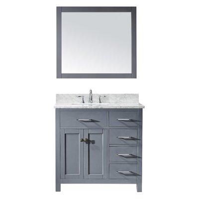 Caroline Parkway 36 Single Bathroom Vanity Set with Mirror Sink Shape: Round