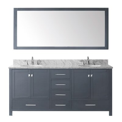 Caroline Avenue 72 Double Bathroom Vanity Set with Mirror Faucet Finish: Brushed Nickel, Sink Shape: Square