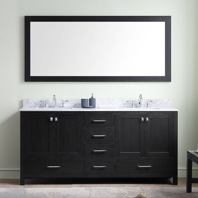 Melba 72 Double Bathroom Vanity Set with White marble and Mirror