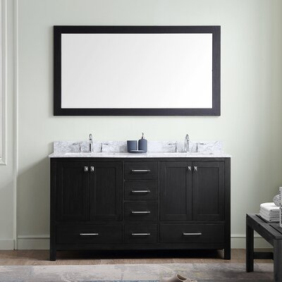 Stoneham 60 Double Bathroom Vanity Set with White Marble Top and Mirror