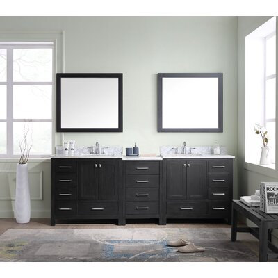 Melba 90 Double Bathroom Vanity Cabinet Set with Mirror