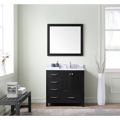Raishon 36 Single Bathroom Vanity Set with White Marble Top and Mirror Drawer Orientation: Left Side