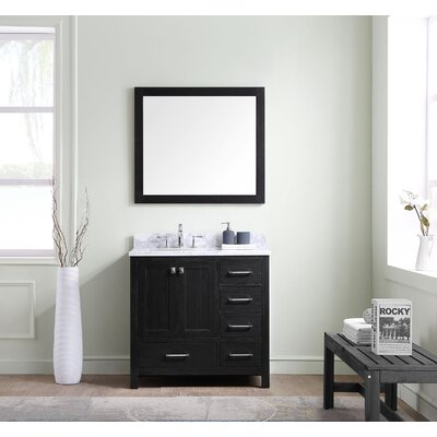 Stoneham 36 Single Bathroom Vanity Set with White Marble Top and Mirror Drawer Orientation: Right Side
