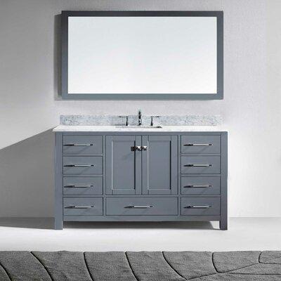 Stoneham 60 Single Bathroom Vanity Set with White and Mirror Base Finish: Gray