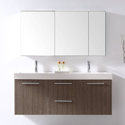 Frausto 54 Double Bathroom Vanity Set with White Polymarble Top Faucet Finish: Polished Chrome