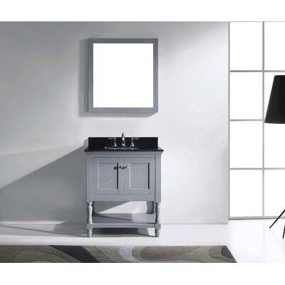Julianna 32 Single Bathroom Vanity Set with Mirror Base Finish: Gray, Faucet Finish: Polished Chrome