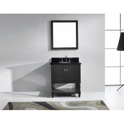 Julianna 32 Single Bathroom Vanity Set with Black Galaxy Granite Top and Mirror Base Finish: Espresso, Faucet Finish: Polished Chrome