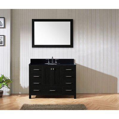 Caroline Premium 48 Single Bathroom Vanity Set with Mirror Sink Shape: Round