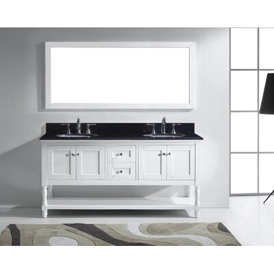Julianna 72 Double Bathroom Vanity Set with Black Galaxy Granite Top and Mirror Base Finish: White, Faucet Finish: Polished Chrome, Sink Shape: Round