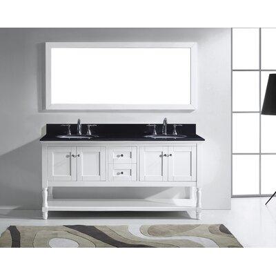 Julianna 72 Double Bathroom Vanity Set with Mirror Base Finish: White, Faucet Finish: Polished Chrome, Sink Shape: Round