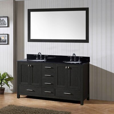 Caroline Premium 72 Double Bathroom Vanity Set with Mirror Sink Shape: Round