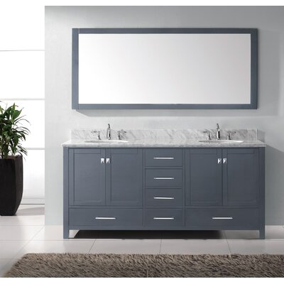 Caroline Avenue 72 Double Bathroom Vanity Set with Marble Top, Faucet and Mirror Faucet Finish: Polished Chrome, Sink Shape: Round
