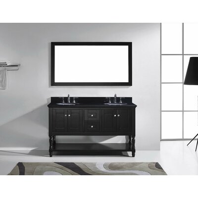 Julianna 60 Double Bathroom Vanity Set with Black Galaxy Granite Top and Mirror Sink Shape: Round