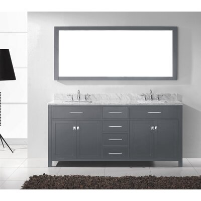 Caroline 72 Double Bathroom Vanity Set with Mirror Sink Shape: Square
