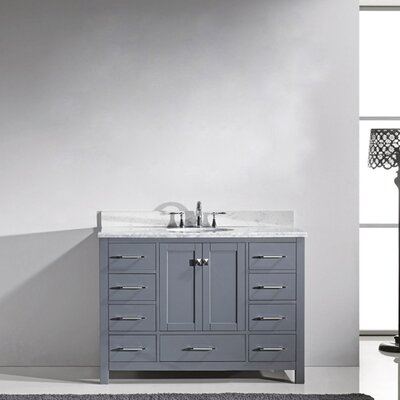Caroline Avenue 48 Single Bathroom Vanity Set with Mirror Sink Shape: Round