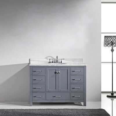 Caroline Avenue 36 Single Bathroom Vanity Set with Marble Top and Mirror Sink Shape: Round