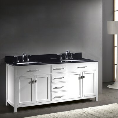Rishaan 72 Double Bathroom Vanity Set with Mirror Faucet Finish: Brushed Nickel, Base Finish: Espresso, Sink Shape: Round