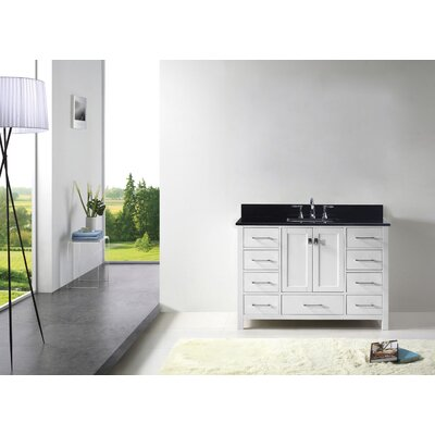 Caroline Avenue 48 Single Bathroom Vanity Set with Black Galaxy Granite Top and Mirror Base Finish: White, Faucet Finish: Polished Chrome, Sink Shape: Square