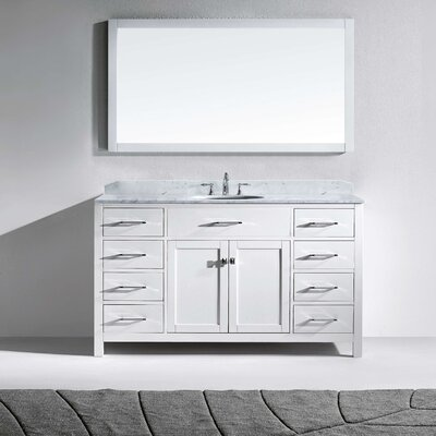 Stoneham 60 Single Bathroom Vanity Set with White and Mirror Base Finish: White