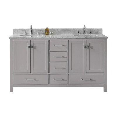Caroline Avenue 59 Double Bathroom Vanity Set with Mirror Sink Shape: Square