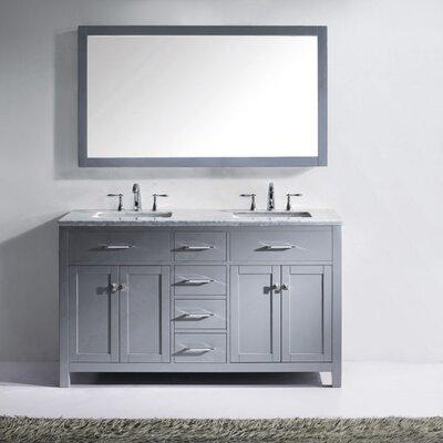 Caroline 60 Double Bathroom Vanity Set with Mirror Faucet Finish: Polished Chrome, Sink Shape: Round