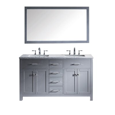 Caroline 60 Double Bathroom Vanity Set with Mirror Faucet Finish: Brushed Nickel, Sink Shape: Square