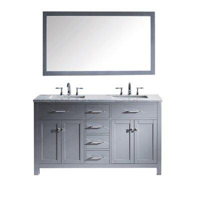 Caroline 60 Double Bathroom Vanity Set with Mirror Sink Shape: Round