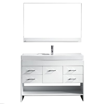 Carstens 48 Single Bathroom Vanity Set with Mirror Base Finish: White