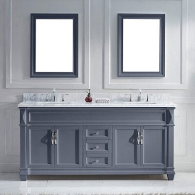 Victoria 72 Double Bathroom Vanity Set with White Marble Top and Mirror Base Finish: Gray, Sink Shape: Square, Faucet Finish: No Faucet