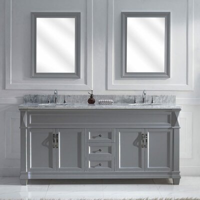 Victoria 72 Double Bathroom Vanity Set with White Marble Top and Mirror Base Finish: Gray, Sink Shape: Round, Faucet Finish: No Faucet