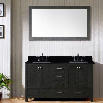 Caroline Premium 60 Double Bathroom Vanity Set with Mirror Sink Shape: Square