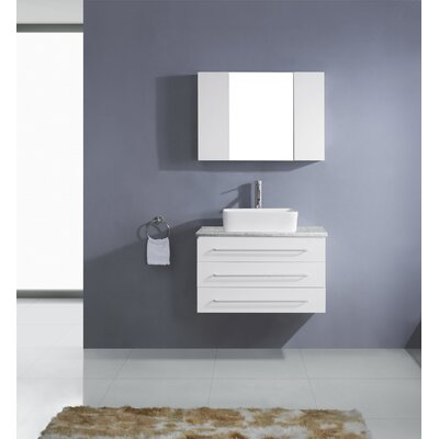 Ultra Modern Series 33 Single Bathroom Vanity Set with Mirror Base Finish: White, Faucet Finish: Brushed Nickel