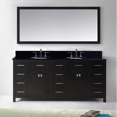 Espen 72 Double Bathroom Vanity Set with Black Galaxy Top and Mirror Base Finish: Espresso, Sink Shape: Square