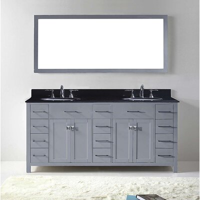 Espen 72 Double Bathroom Vanity Set with Black Galaxy Top and Mirror Base Finish: Gray, Sink Shape: Round