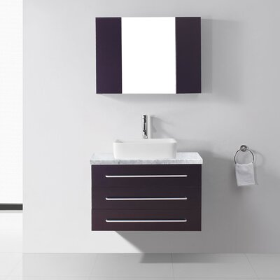Ultra Modern Series 33 Single Bathroom Vanity Set with Mirror Base Finish: Espresso, Faucet Finish: Brushed Nickel