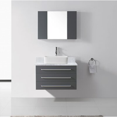 Ultra Modern Series 33 Single Bathroom Vanity Set with Mirror Base Finish: Gray, Faucet Finish: Polished Chrome