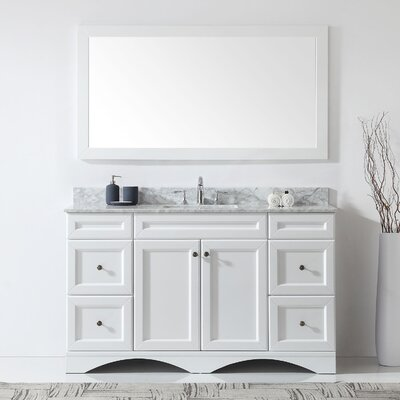 Kauffman 59.1 Single Bathroom Vanity Set With White Marble and Mirror Base Finish: White, Sink Shape: Round, Faucet Finish: Brushed Nickel